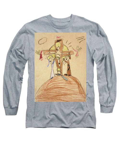 Long Sleeve T-Shirt featuring the drawing The Crucifixion By Fr. Bill At Age 5 by William Hart McNichols