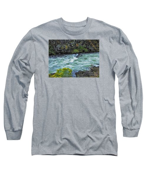 Long Sleeve T-Shirt featuring the photograph The Deschutes River At Dillon Falls by Nancy Marie Ricketts