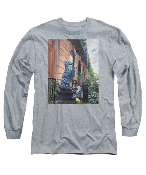 The Dogs On West Tenth Street, New York, Ny  Long Sleeve T-Shirt by Barbara Barber