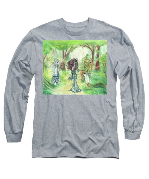 Long Sleeve T-Shirt featuring the painting The Fae - Sylvan Creatures Of The Forest by Shawn Dall