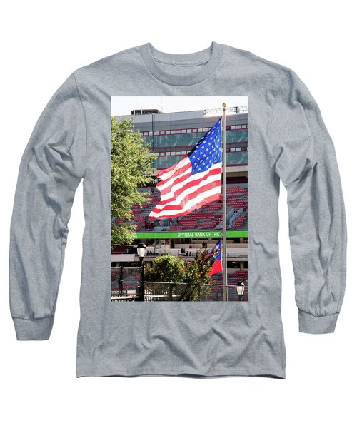Long Sleeve T-Shirt featuring the photograph The Flag Flying High Over Sanford Stadium by Parker Cunningham