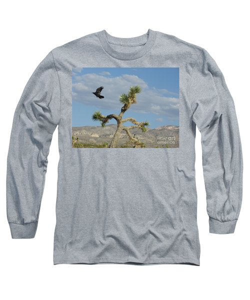 Long Sleeve T-Shirt featuring the photograph The Flight Of Raven. Lucerne Valley. by Ausra Huntington nee Paulauskaite