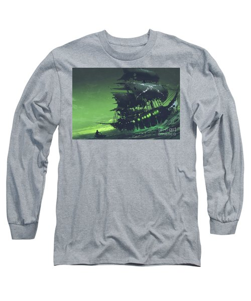 Long Sleeve T-Shirt featuring the painting The Flying Dutchman by Tithi Luadthong