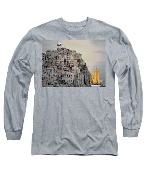 The Golden Sails Long Sleeve T-Shirt by Mojo Mendiola