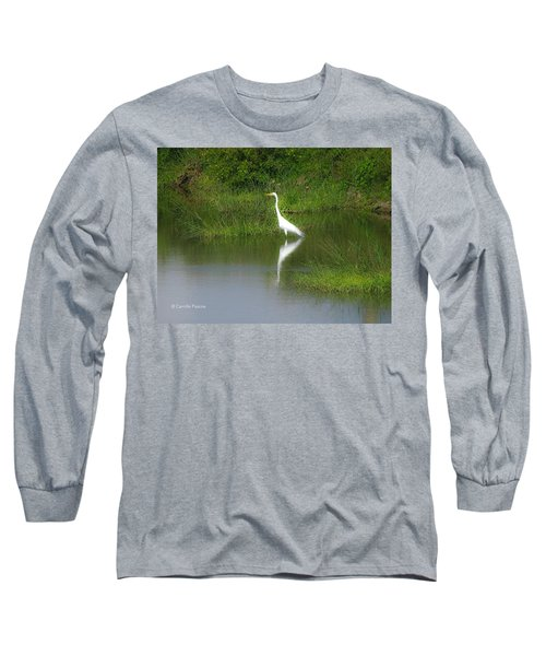 Great Egret By The Waters Edge Long Sleeve T-Shirt
