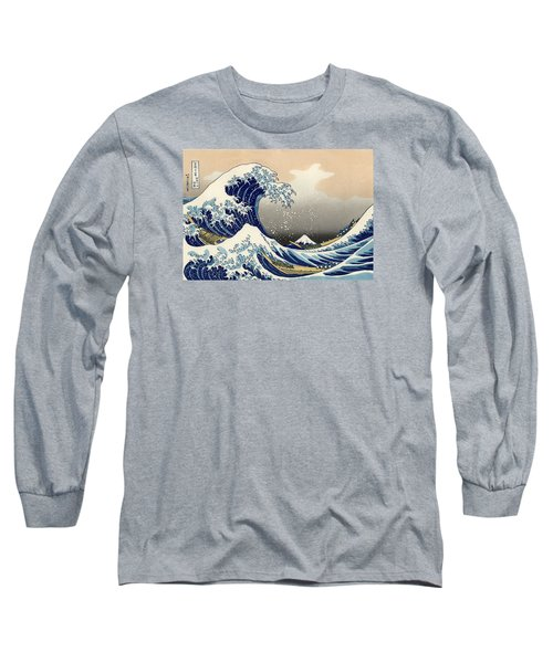 The Great Wave Off Kanagawa Long Sleeve T-Shirt by Katsushika Hokusai