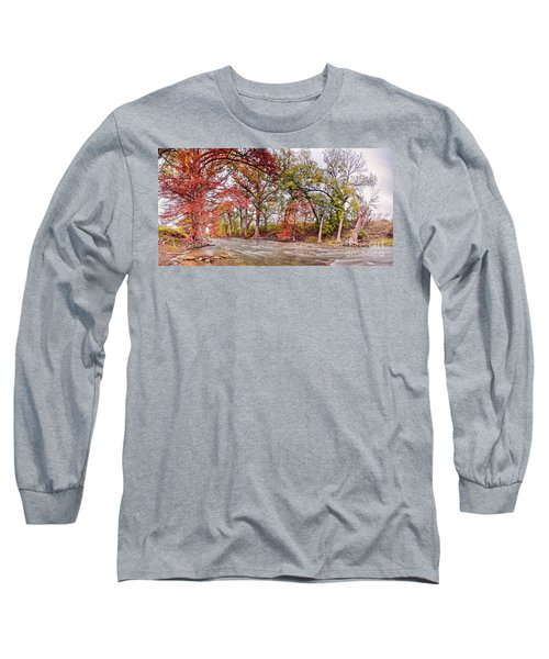 The Guadalupe River As It Makes Its Way Through James Kiehl River Bend Park - Comfort Texas Hills Long Sleeve T-Shirt