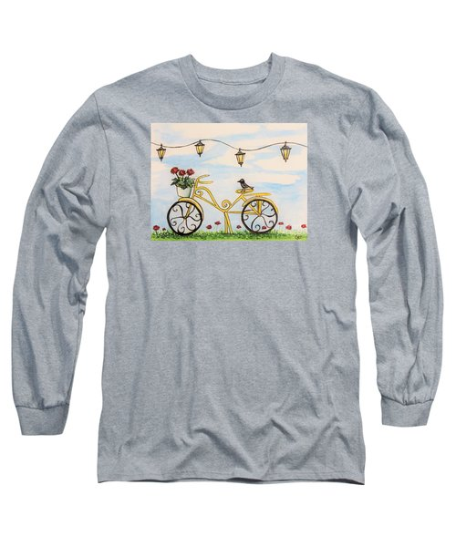 The Happy Yellow Bicycle Long Sleeve T-Shirt by Elizabeth Robinette Tyndall