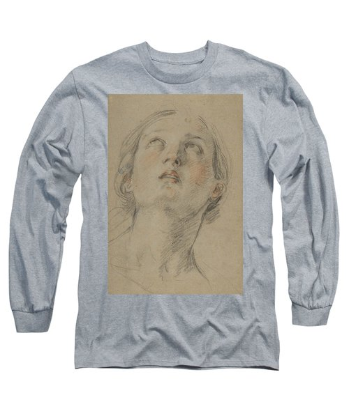 The Head Of A Woman Looking Up Long Sleeve T-Shirt