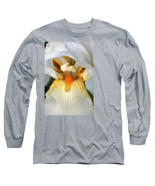 Long Sleeve T-Shirt featuring the photograph The Heart Of A Bearded Iris by Sheila Brown