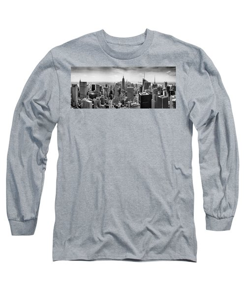 New York City Skyline Bw Long Sleeve T-Shirt by Az Jackson