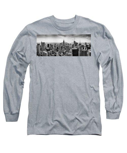 New York City Skyline Bw Long Sleeve T-Shirt