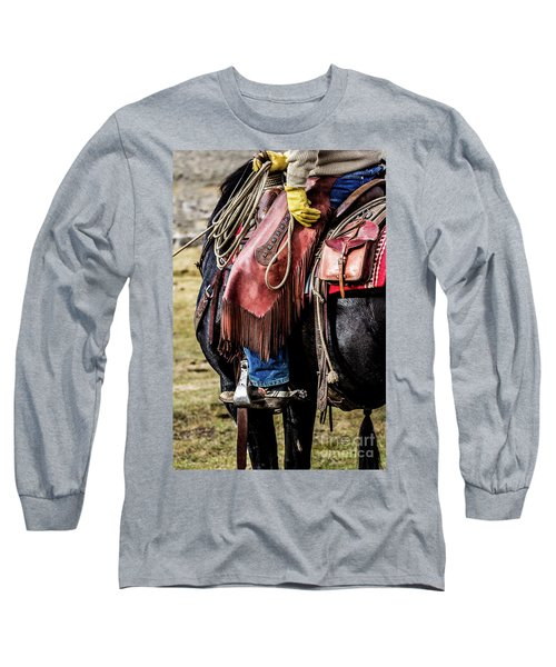 The Idaho Cowboy Western Art By Kaylyn Franks Long Sleeve T-Shirt