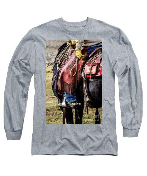 The Idaho Cowboy Western Art By Kaylyn Franks Long Sleeve T-Shirt