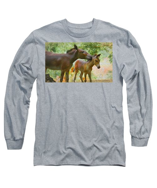 Long Sleeve T-Shirt featuring the painting The Kiss Edition 3 by Judy Kay