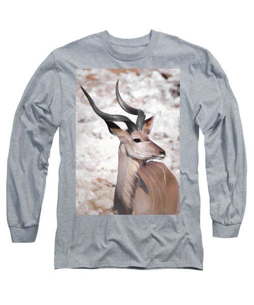 Long Sleeve T-Shirt featuring the digital art The Kudu Portrait by Ernie Echols