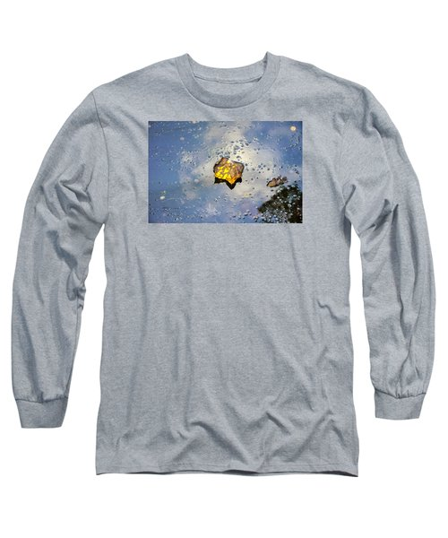 Long Sleeve T-Shirt featuring the photograph The Leaf And Liquid Sky by Allen Carroll
