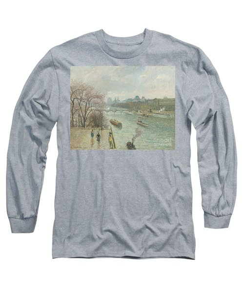 The Louvre, Afternoon, Rainy Weather, 1900  Long Sleeve T-Shirt