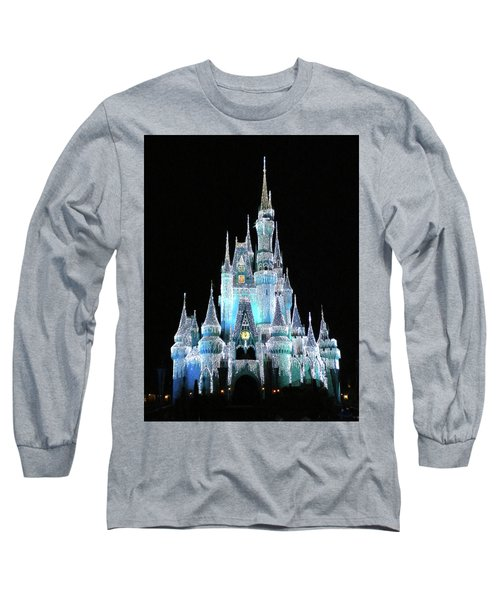 The Magic Kingdom Castle In Frosty Light Blue Walt Disney World Mp Long Sleeve T-Shirt by Thomas Woolworth