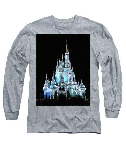 The Magic Kingdom Castle In Frosty Light Blue Walt Disney World Mp Long Sleeve T-Shirt