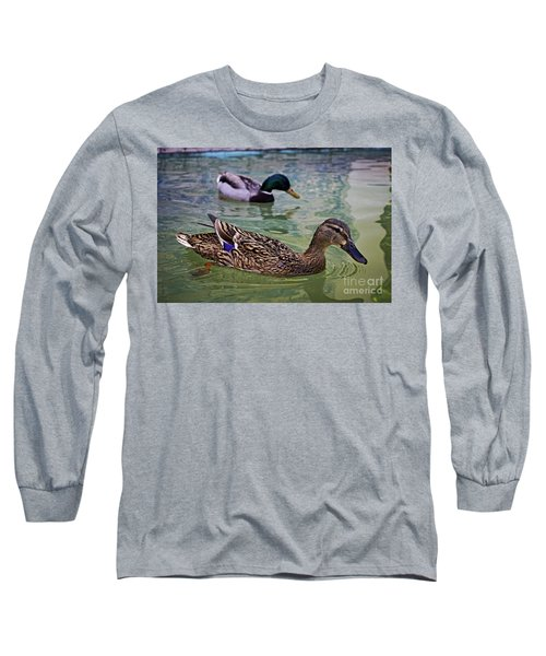 Long Sleeve T-Shirt featuring the photograph The Mallard Pair by Mary Machare