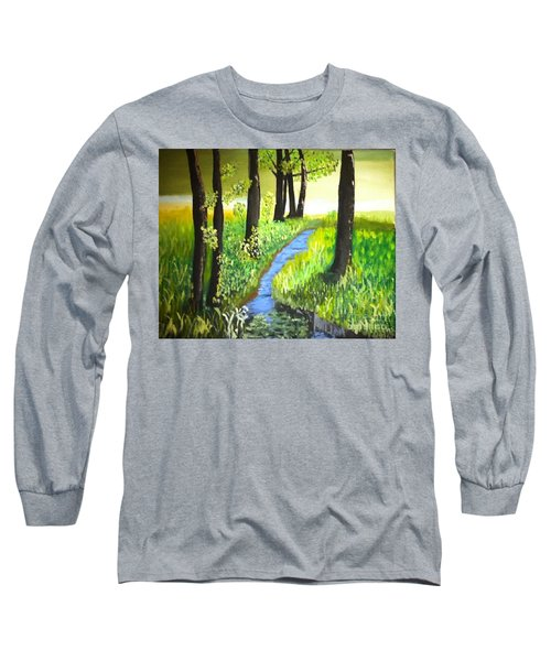 Long Sleeve T-Shirt featuring the painting The Meadow by Rod Jellison