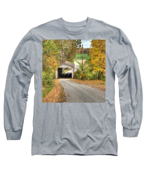 Long Sleeve T-Shirt featuring the photograph The Melcher Covered Bridge by Harold Rau