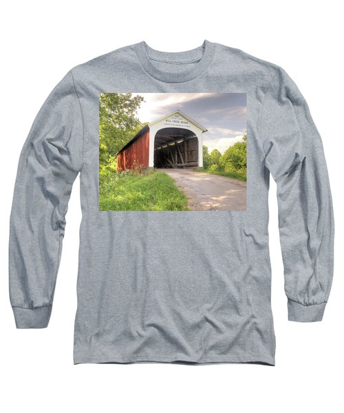 Long Sleeve T-Shirt featuring the photograph The Mill Creek Covered Bridge by Harold Rau