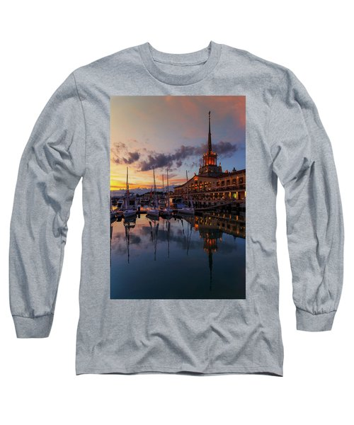 the nautical station and the yacht on the main sea channel of the Sochi seaport Long Sleeve T-Shirt