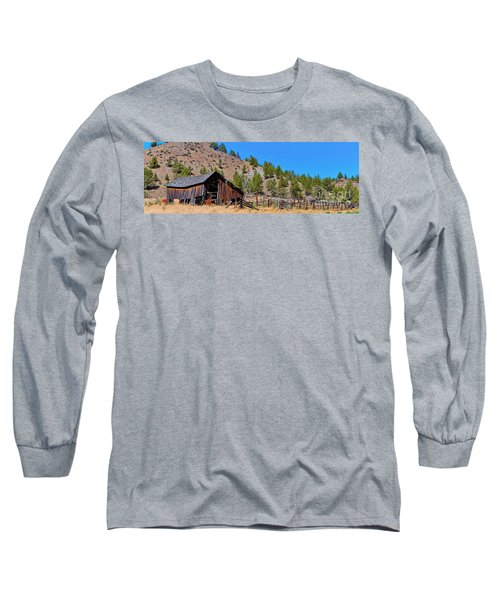 The Old Pine Creek Ranch Barn And Coral Long Sleeve T-Shirt by Ansel Price