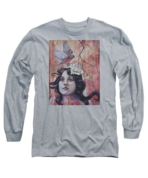 Long Sleeve T-Shirt featuring the mixed media The Oracle by Sheri Howe