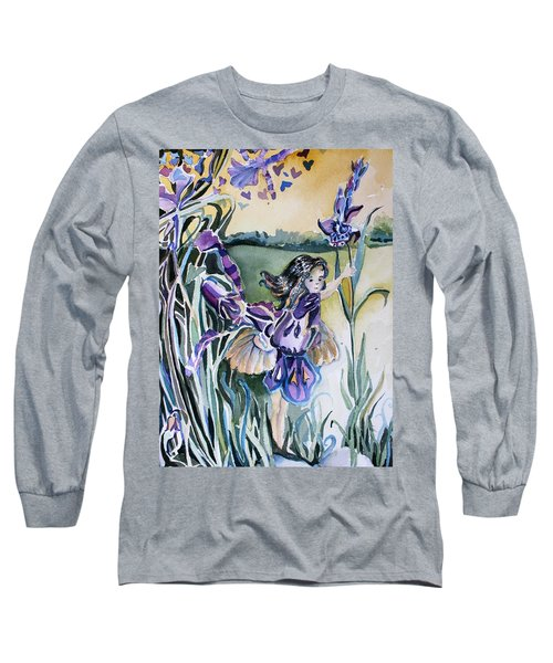 Long Sleeve T-Shirt featuring the painting The Orchid Fairy by Mindy Newman