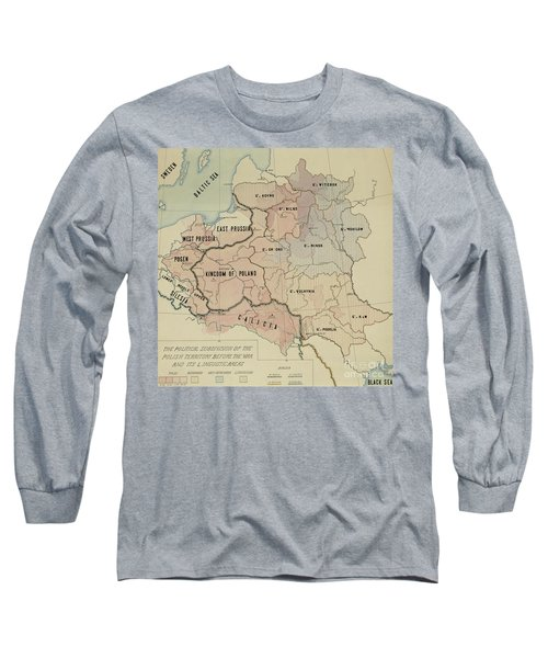 The Political Subdivision Of The Polish Territory Before The War And Its Linguistic Areas, 1918 Long Sleeve T-Shirt