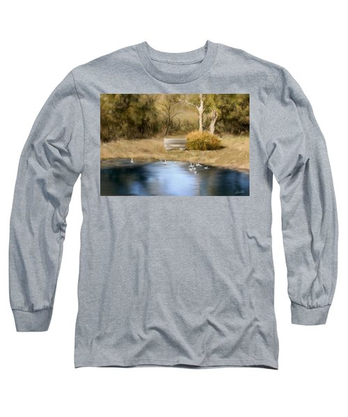 Long Sleeve T-Shirt featuring the painting The Pond by Bonnie Willis