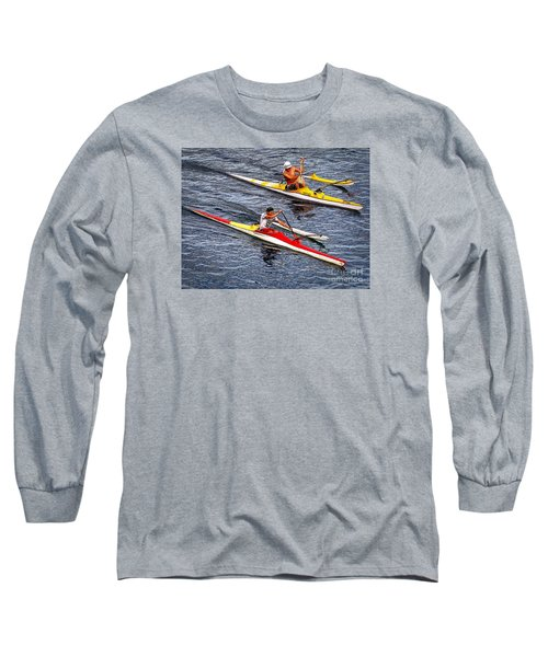 Long Sleeve T-Shirt featuring the photograph The Race Is On by Sue Melvin