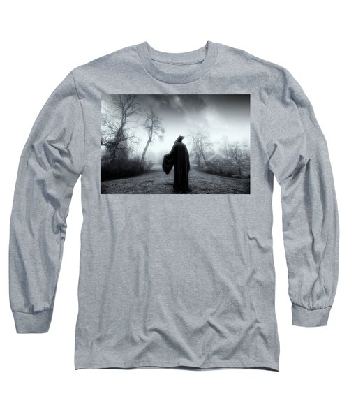 The Reaper Moving Through Mist And Fog Long Sleeve T-Shirt by Christian Lagereek