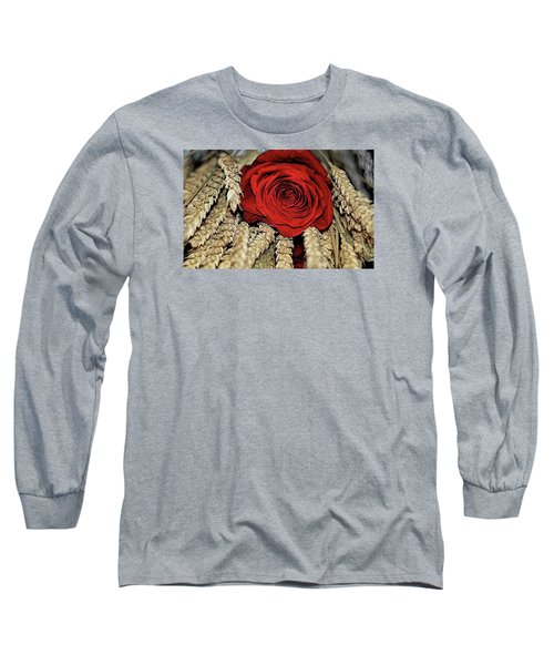 Long Sleeve T-Shirt featuring the photograph The Red Rose On A Bed Of Wheat by Diana Mary Sharpton