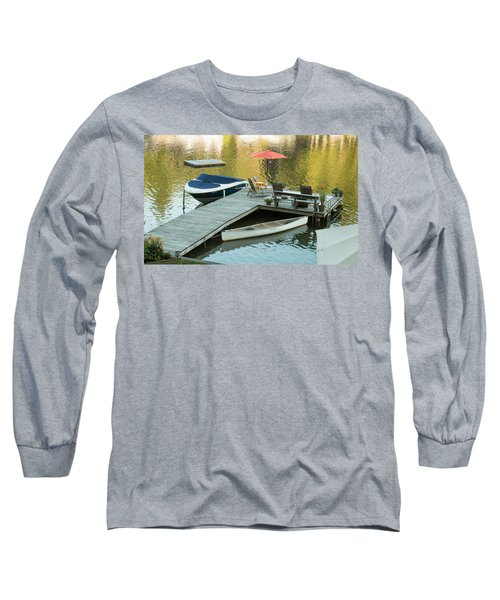 Long Sleeve T-Shirt featuring the photograph The Red Umbrella At The Lake by E Faithe Lester