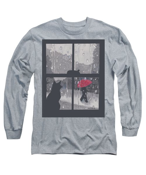 The Red Umbrella Long Sleeve T-Shirt by Quwatha Valentine