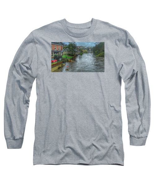 The River Nidd In Flood At Knaresborough Long Sleeve T-Shirt by RKAB Works