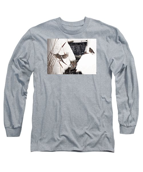Long Sleeve T-Shirt featuring the photograph The Robin Plunge by Trina Ansel