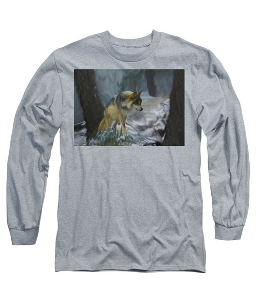The Searching Wolf Long Sleeve T-Shirt by Ernie Echols