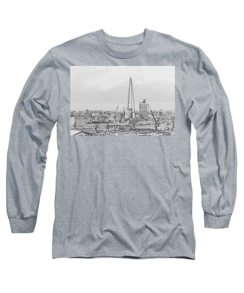 The Shard Outline Poster Bw Long Sleeve T-Shirt