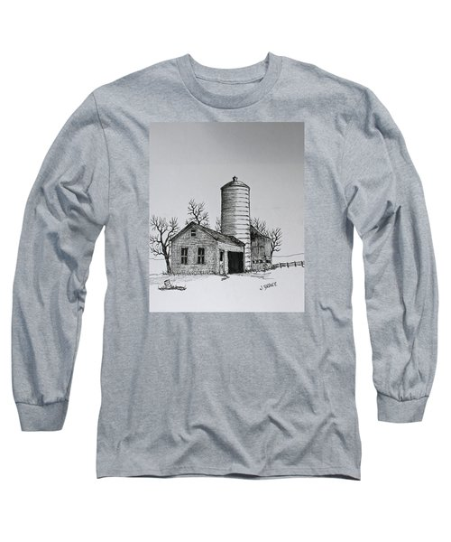 Long Sleeve T-Shirt featuring the drawing The Shed by Jack G  Brauer