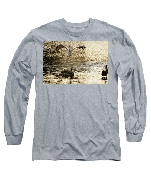 The Spot-billed Pelican Or Grey Pelican  Pelecanus Philippensis  Long Sleeve T-Shirt