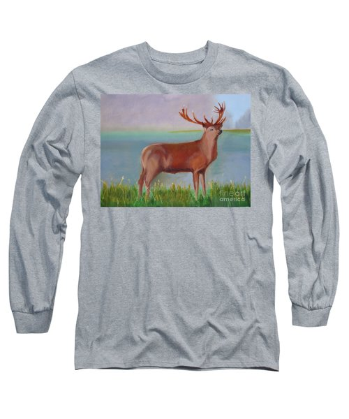 Long Sleeve T-Shirt featuring the painting The Stag by Rod Jellison