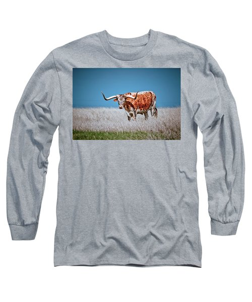 Long Sleeve T-Shirt featuring the photograph The Texas Longhorn by Linda Unger