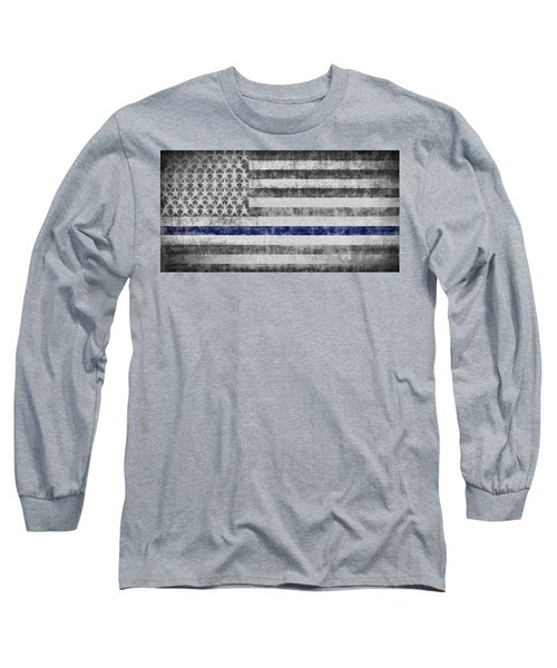 Long Sleeve T-Shirt featuring the digital art The Thin Blue Line American Flag by JC Findley