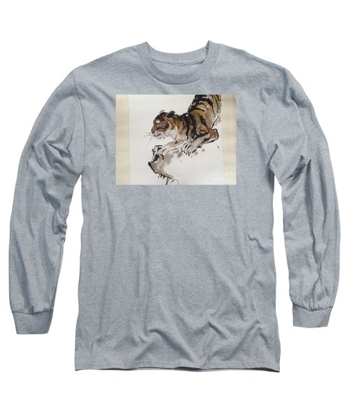 Long Sleeve T-Shirt featuring the painting The Tiger At Rest by Fereshteh Stoecklein