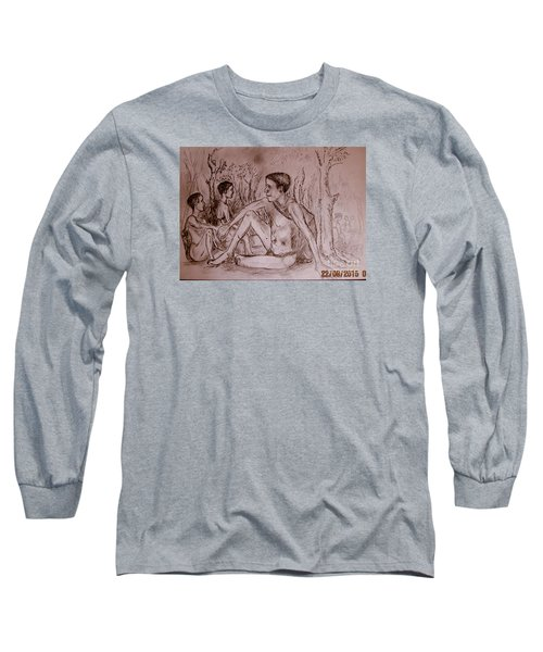 Long Sleeve T-Shirt featuring the drawing The Traditional Barter System by Jason Sentuf